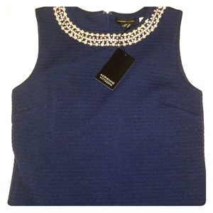 Jewelled Neckline Navy Summer Sheath 2